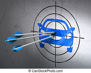 Vacation concept: arrows in Car target on wall background