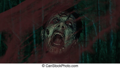 Screaming zombie - Screaming horrible zombie behind a bloody...