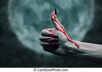 Vampire bloody hand - Vampire hand in blood with thumb up...