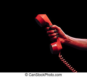 Demon hand with phone handset - Red demon hand gives phone...
