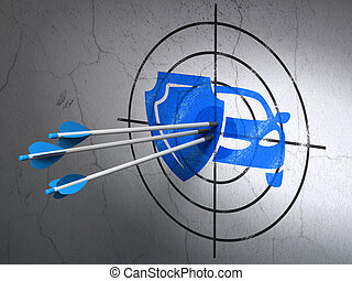 Insurance concept: arrows in Car And Shield target on wall background