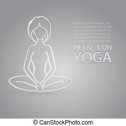 Yoga metal icon - Vector illustration of metal or glass yoga...
