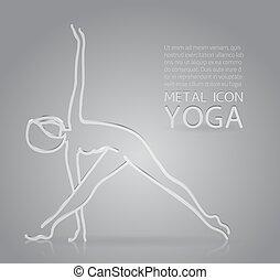 Yoga metal icon - Vector illustration of metal or glass yoga...