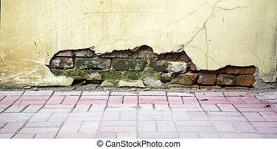 Red, brown brickwall background. - Red, brown vintage...