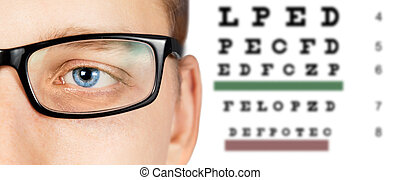Male eye and eyesight test - Close-up image of male eye in...
