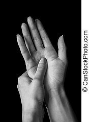 Pain in hand - Pain in a female wrist, carpal syndrome,...