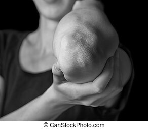 Acute pain elbow - Woman holds her elbow joint, acute pain...