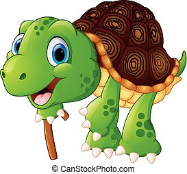 Illustration of elderly tortoise - vector Illustration of...