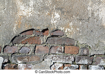 Red, brown brickwall background. - Red, brown vintage...