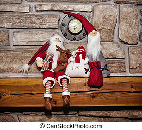 Two Santas and snowman, Christmas decoration - Two Santas...