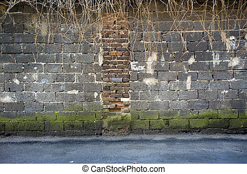Red, brown dirty brickwall background. - Red, brown vintage...