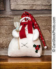White snowman with red hat and broom, Christmas decoration -...