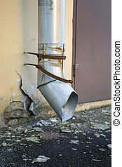 Metal drainpipe on shabby wall - Metal drainpipe on shabby...
