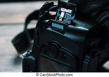 Memory card in photo camera - Memory card is inserted in the...