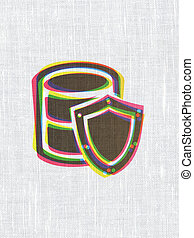 Programming concept: Database With Shield on fabric texture background