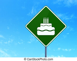 Holiday concept: Cake on road sign background