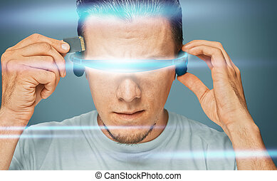 Scientist in futuristic glasses - Serious man in futuristic...