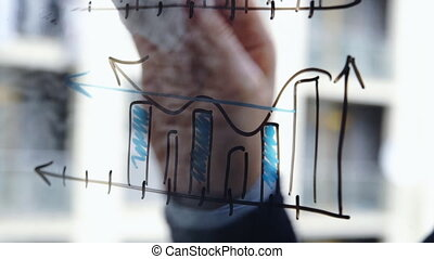 Lifestyle: beautiful young woman cleaning math business graphs from the glass with skyscraper on background. Close-up shot, static.