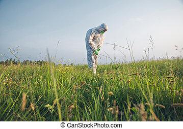 Scientist in biohazard uniform outdoor - Scientist in...