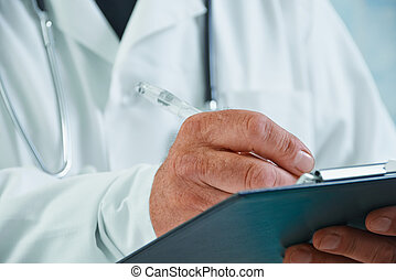 Physician writes medical records - Unrecognizable older man...