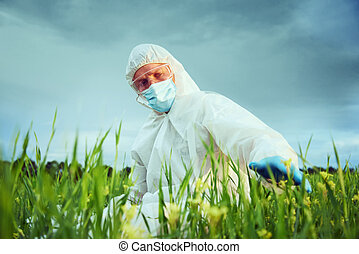 Scientist on nature - Scientist man in protective uniform...