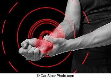 Pain in a male wrist of red color - Pain in a male wrist....