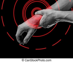 Pain wrist of red color - Man holds his hand, acute pain in...