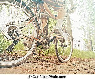 Cyclist man is riding bicycle