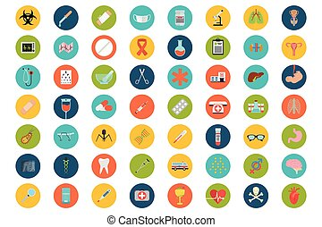 Set of flat Medical icons - Big medical icons set in color...