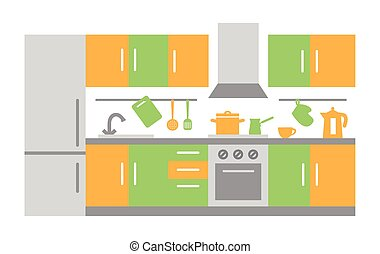 Flat Design of Kitchen Interior