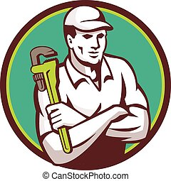 Plumber Monkey Wrench Arms Crossed Circle Retro -...