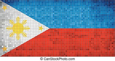Philippine Flag - Illustration, Abstract Mosaic Philippines...