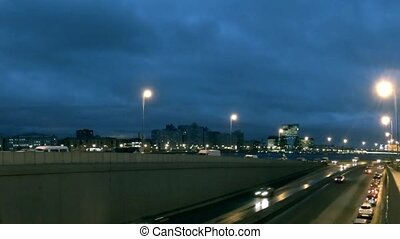 night traffic time lapse - St Petersburg cityscape time...