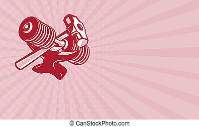 Business card Dumbbell Anvil and Sledgehammer Retro -...