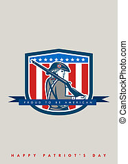 Patriots Day Greeting Card American Patriot Minuteman Musket...