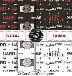 Set of american football patterns. Usa sports seamless background collection. Sport wallpaper with field in monochrome and color design. Vector soccer equipment graphic. Sketch, hand drawn style.