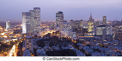 Cityscape - Night city, Tel Aviv at sunset, Israel