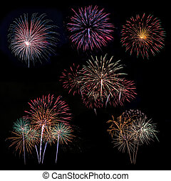 Fireworks - Fireworks of many exposure collection in a black...
