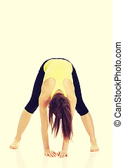 Woman doing stretching exercise.