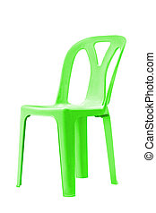 Green plastic chair. - Green plastic chair on white, with...