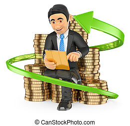 3D Businessman on a pile of coins buying stocks with his tablet. Trader