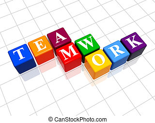 teamwork in colour 3 - 3d colour boxes with text - teamwork,...