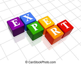 expert in colour - 3d colour boxes with text - expert, word