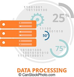 An illustration showing a data processing concept