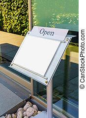 Menu frame in front of Restaurant