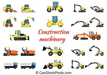 Set construction equipment - excavators, loaders, rollers,...