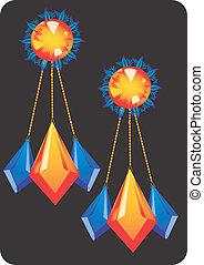 golden earring with diamond - Illustration of golden earring...