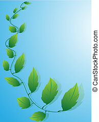 Blue background with green leaves