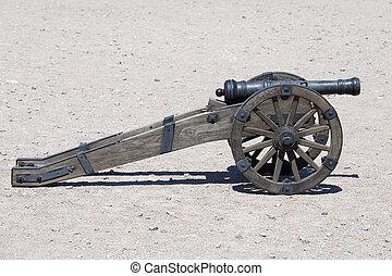 antiga, artilharia, canhão, em, Kiev, Ucrânia,