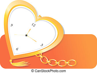 Illustration of golden pocket watch in heart shape